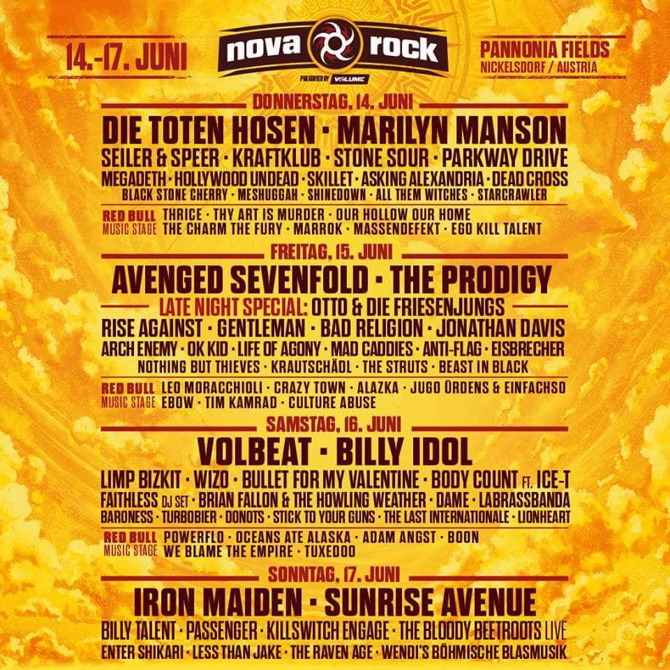 Nova Rock 2018 Line Up