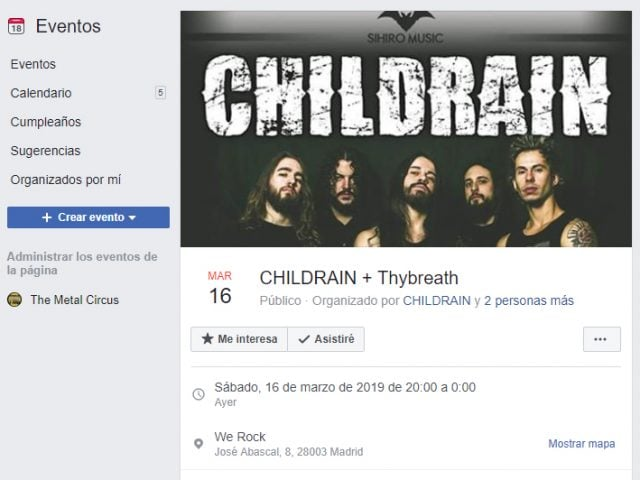 Evento Facebook Childrain Thybreath Madrid