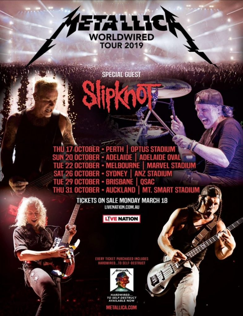 Metallica Slipknot 2019 Australia Nueva Zelanda