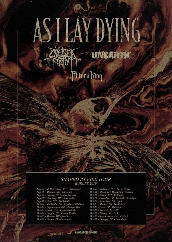 As I Lay Dying tour 2019 Europe
