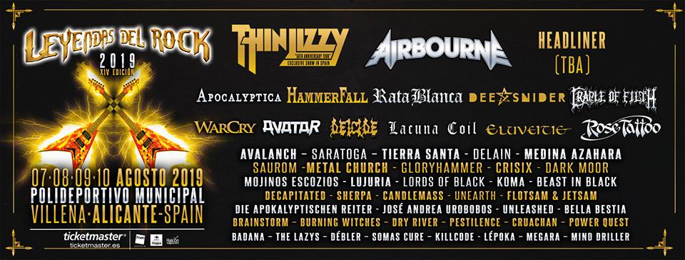 Cartel Leyendas del Rock 2019 abril headliner