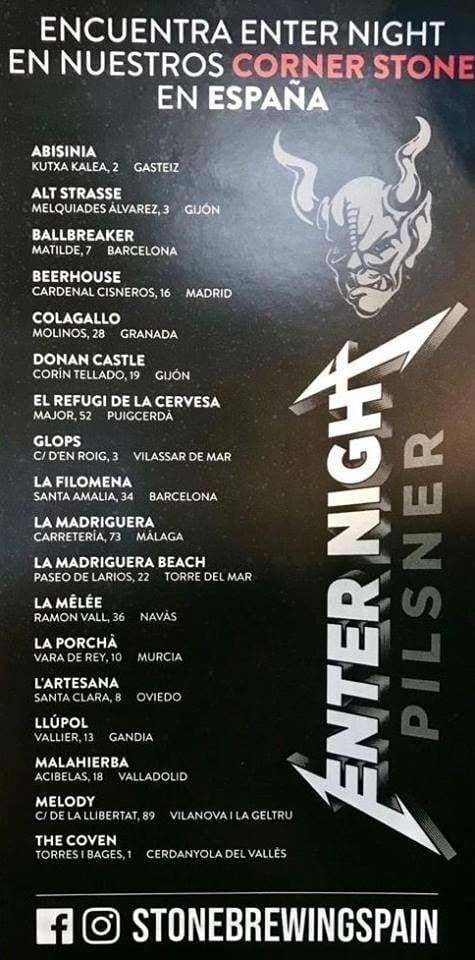 cerveza Metallica España Enter Night