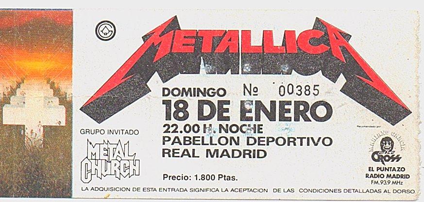 Entrada Metallica Madrid 1987