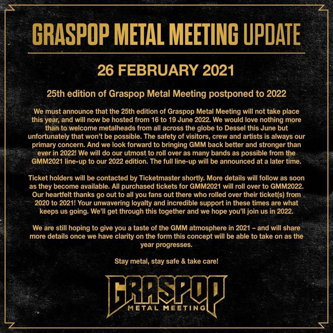 Graspop 2021 cancelado